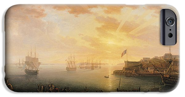 1796 iPhone Cases - View of Brest Harbor iPhone Case by Jean Francois Hue