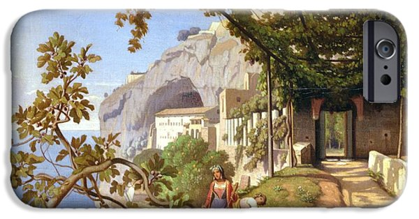 Wine Canvas Paintings iPhone Cases - View of Capri iPhone Case by Theodore Aligny
