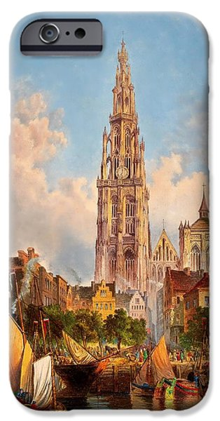 Boat iPhone Cases - View of Cathedral of Our Lady in Antwerp iPhone Case by Unknown