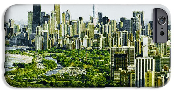 Willis Tower Paintings iPhone Cases - View of Chicago iPhone Case by Lanjee Chee