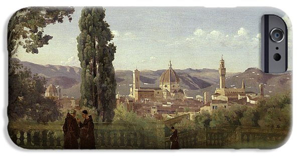 1796 iPhone Cases - View of Florence from the Boboli Gardens iPhone Case by Jean Baptiste Camille Corot