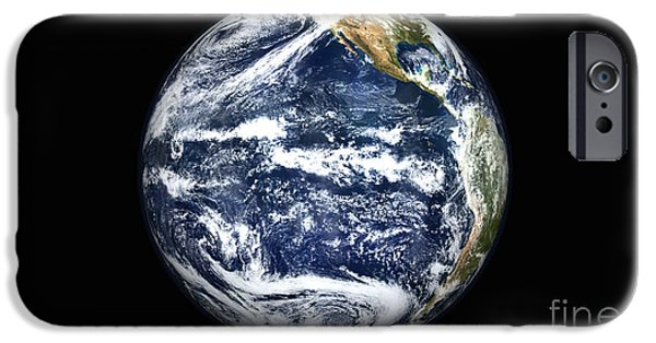 Terrestrial Sphere iPhone Cases - View Of Full Earth Centered iPhone Case by Stocktrek Images