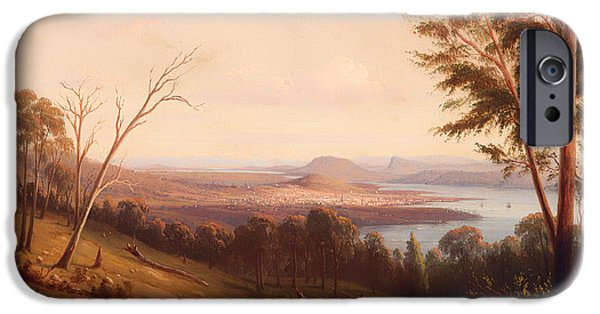 Hobart iPhone Cases - View of Hobart Town iPhone Case by Knut Bull