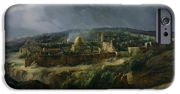 Town iPhone Cases - View of Jerusalem from the Valley of Jehoshaphat iPhone Case by Auguste Forbin