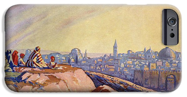 Jesus Drawings iPhone Cases - View Of Jerusalem, Palestine Seen From iPhone Case by Ken Welsh