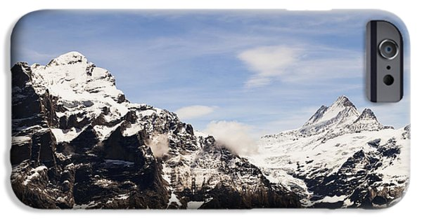 Grindelwald iPhone Cases - View Of Monch And Jungfrau From First iPhone Case by Kav Dadfar