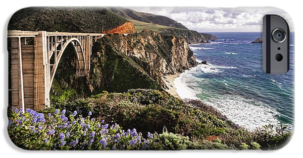 Ocean Panorama iPhone Cases - View of The Bixby Creek Bridge Big Sur California iPhone Case by George Oze