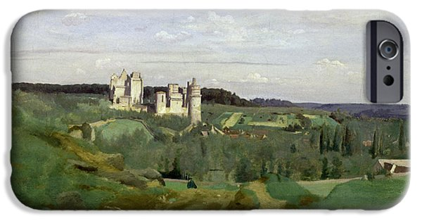 1796 iPhone Cases - View of the Chateau de Pierrefonds iPhone Case by Jean Baptiste Camille Corot