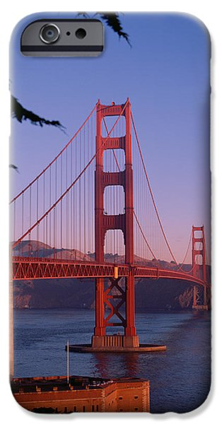 United States iPhone Cases - View of the Golden Gate Bridge iPhone Case by American School