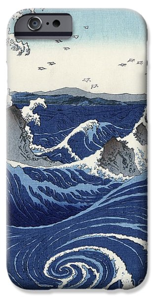 Recently Sold -  - Sea iPhone Cases - View of the Naruto whirlpools at Awa iPhone Case by Hiroshige
