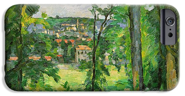 Village iPhone Cases - View of the Outskirts iPhone Case by Paul Cezanne
