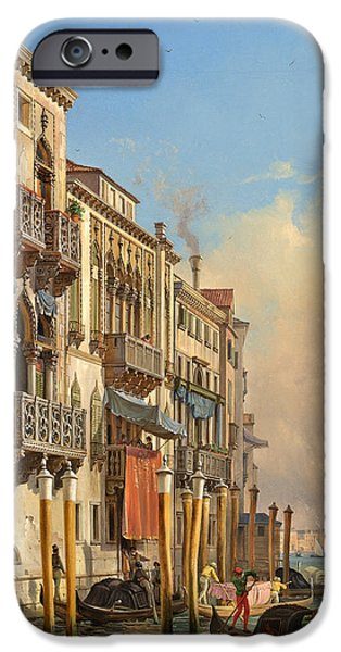 River View Drawings iPhone Cases - View of the Palazzetto Contarini pheasant conditions iPhone Case by Celestial Images