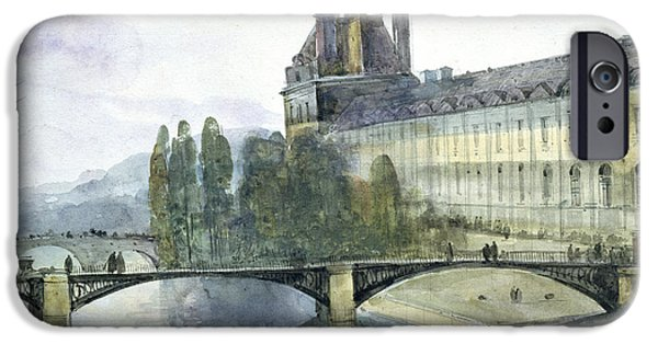 River View Paintings iPhone Cases - View of the Pavillon de Flore of the Louvre iPhone Case by Francois-Marius Granet