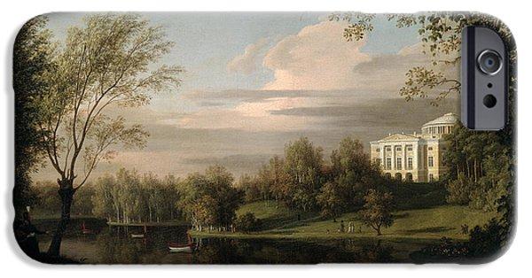 Rural iPhone Cases - View of the Pavlovsk Palace iPhone Case by Carl Ferdinand von Kugelgen