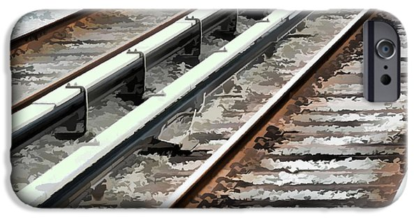 Technical Paintings iPhone Cases - View of the railway track  iPhone Case by Lanjee Chee