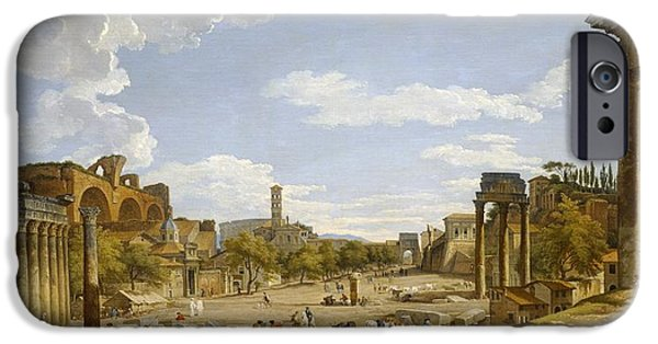Column iPhone Cases - View of the Roman Forum iPhone Case by Giovanni Paolo Panini
