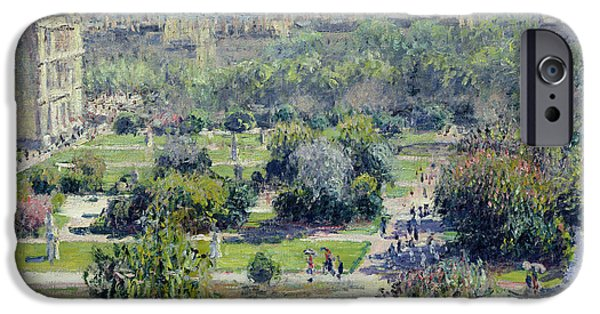 Royal iPhone Cases - View of the Tuileries Gardens iPhone Case by Claude Monet