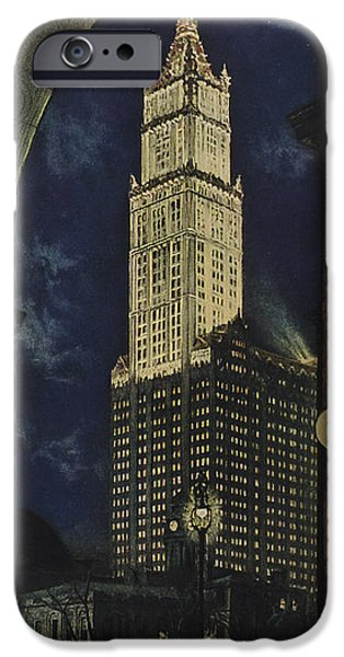Night Lamp Drawings iPhone Cases - View Of The Woolworth Building iPhone Case by American School