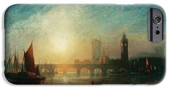 River View iPhone Cases - View of Westminster Bridge and the Houses of Parliament iPhone Case by James Francis Danby