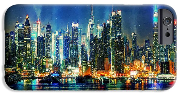 Business Digital Art iPhone Cases - View on night Manhattan iPhone Case by Lanjee Chee