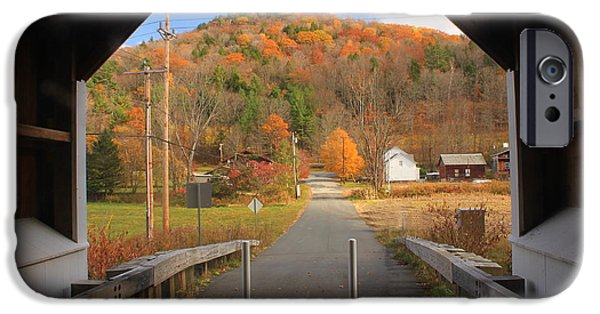 Covered Bridge iPhone Cases - View out of Arthur Smith Bridge in Autumn iPhone Case by John Burk