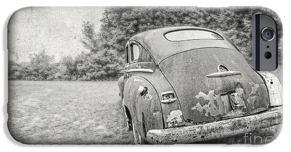 Old Cars iPhone Cases - View out the back porch iPhone Case by Edward Fielding