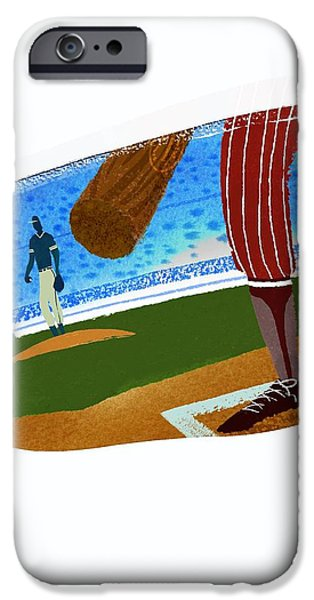 Baseball Uniform iPhone Cases - View Over Home Plate In Baseball Stadium iPhone Case by Gillham Studios