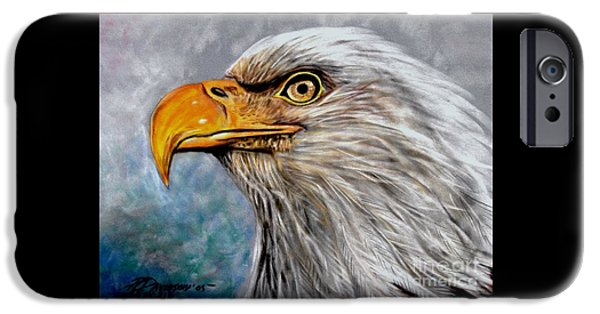 Eagle Pastels iPhone Cases - Vigilant Eagle iPhone Case by Patricia L Davidson