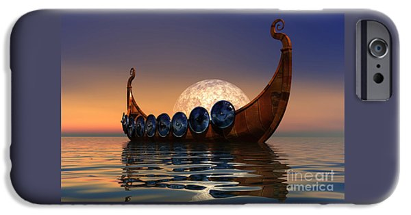 Backgrounds iPhone Cases - Viking Boat iPhone Case by Corey Ford