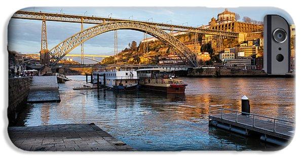 River iPhone Cases - Vila Nova de Gaia and Porto at Sunset iPhone Case by Artur Bogacki