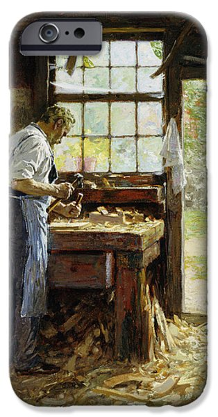 Workbench iPhone Cases - Village Carpenter iPhone Case by Edward Henry Potthast