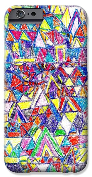 Abstractions Drawings iPhone Cases - Village iPhone Case by Paul Martin