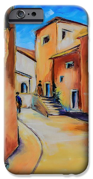 Provence Village iPhone Cases - Village Street in Tuscany iPhone Case by Elise Palmigiani
