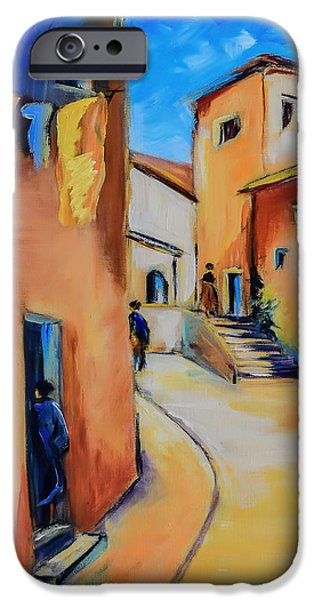 Peaceful Scene Paintings iPhone Cases - Village Street in Tuscany iPhone Case by Elise Palmigiani