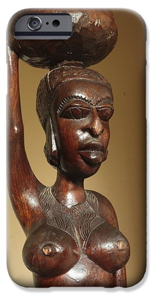 Village Sculptures iPhone Cases - I am Jamilah I am Beautiful iPhone Case by Shaakira Edison