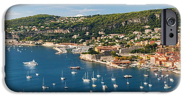 Sailboat iPhone Cases - Villefranche-sur-Mer and Cap de Nice on French Riviera iPhone Case by Elena Elisseeva