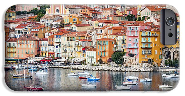Village iPhone Cases - Villefranche-sur-Mer view in French Riviera iPhone Case by Elena Elisseeva