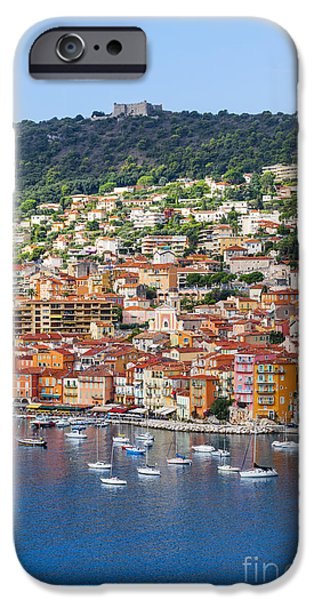 Village iPhone Cases - Villefranche-sur-Mer view on French Riviera iPhone Case by Elena Elisseeva