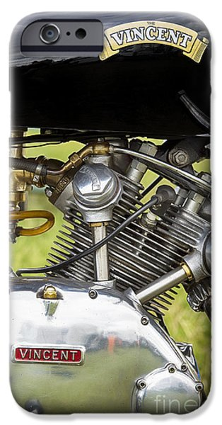 Polish Culture iPhone Cases - Vincent Comet Motorcycle Engine iPhone Case by Tim Gainey