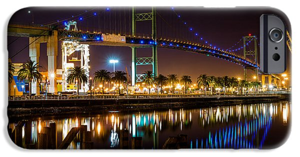 Beach At Night iPhone Cases - Vincent Thomas Bridge  iPhone Case by Art K