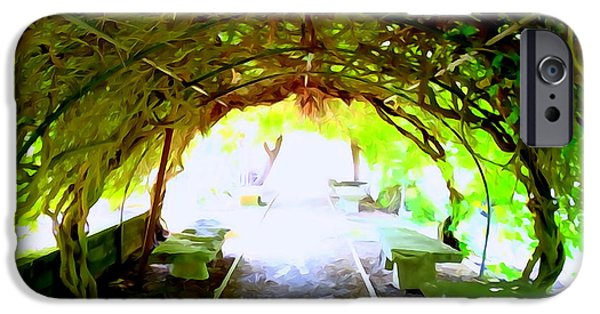 Abstract Digital Photographs iPhone Cases - Vine Covered Archway #2 iPhone Case by Ed Weidman