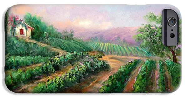 Italian Wine Paintings iPhone Cases - Vineyard Haven iPhone Case by Sally Seago