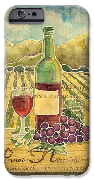 Grape iPhone Cases - Vineyard Pinot Noir Grapes n Wine - Batik Style iPhone Case by Audrey Jeanne Roberts