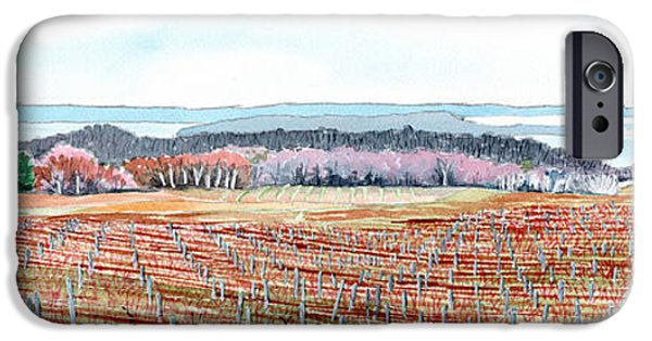 Chicago Paintings iPhone Cases - Vineyards of Mission Peninsula iPhone Case by LeAnne Sowa