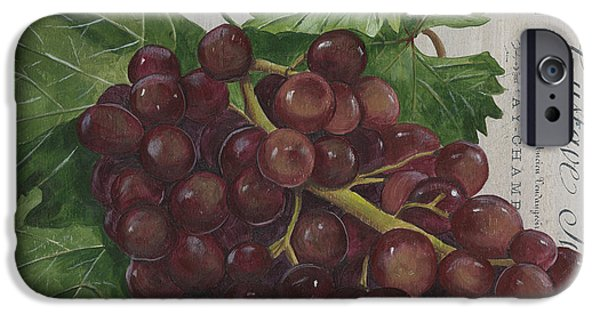 Vine Leaves iPhone Cases - Vins de Champagne iPhone Case by Debbie DeWitt
