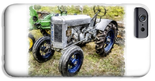 John Deere Tractor iPhone Cases - Vintage 1930 Plymouth Tractor iPhone Case by Edward Fielding