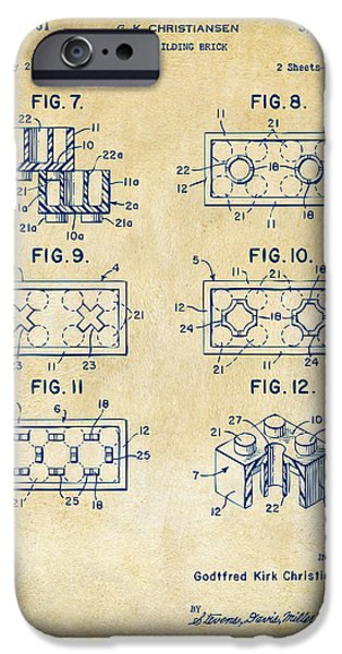 Toy iPhone Cases - Vintage 1961 LEGO Brick Patent Art iPhone Case by Nikki Marie Smith