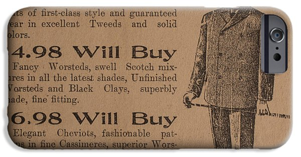 Inexpensive iPhone Cases - Vintage Ad for Mens Suits iPhone Case by Edward Fielding