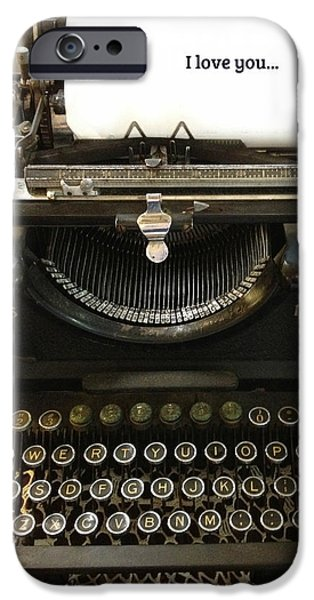 Antiques iPhone Cases - Vintage Antique Typewriter - Inspirational Vintage Typewriter  iPhone Case by Kathy Fornal