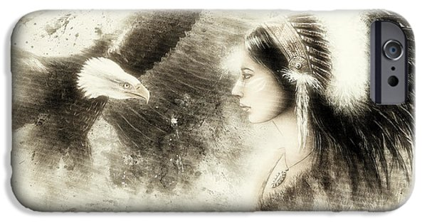 Native American Spirit Portrait iPhone Cases - Vintage  Beautiful Airbrush Painting Of A Young Indian Woman Wearing iPhone Case by Jozef Klopacka